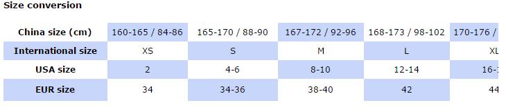 wd size chart